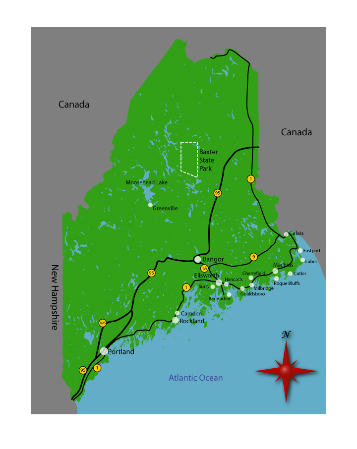 Ocean Park Maine Map.Maine Map Hearts Of Maine